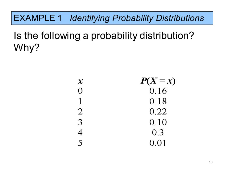 EXAMPLE 1 Identifying Probability Distributions Is the following a probability distribution? Why? 10