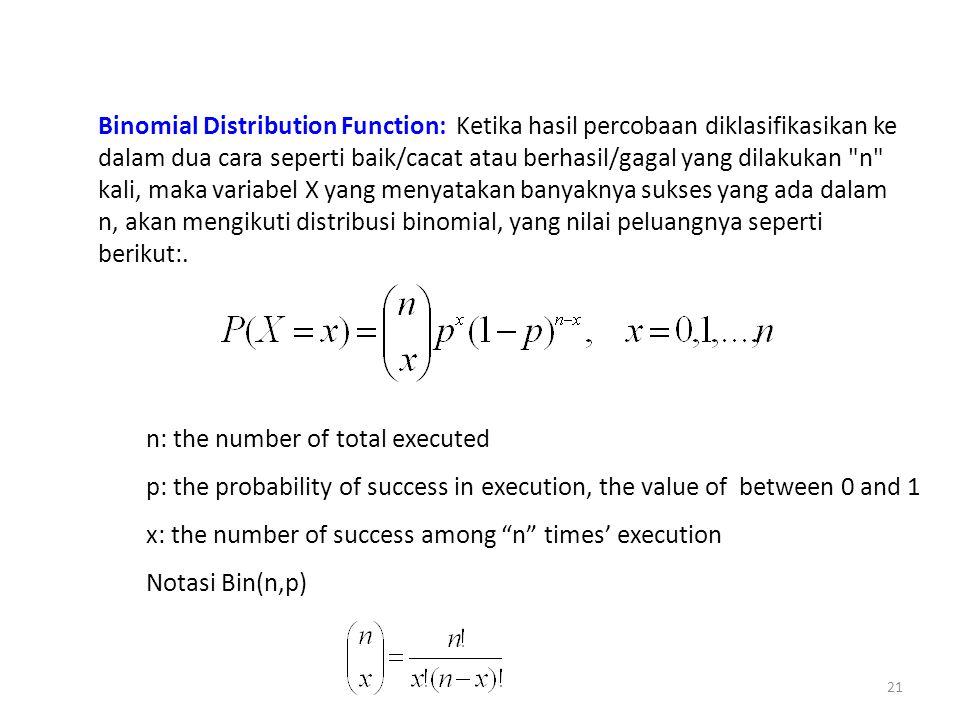 Binomial Distribution Function: Ketika hasil percobaan diklasifikasikan ke dalam dua cara seperti baik/cacat atau berhasil/gagal yang dilakukan