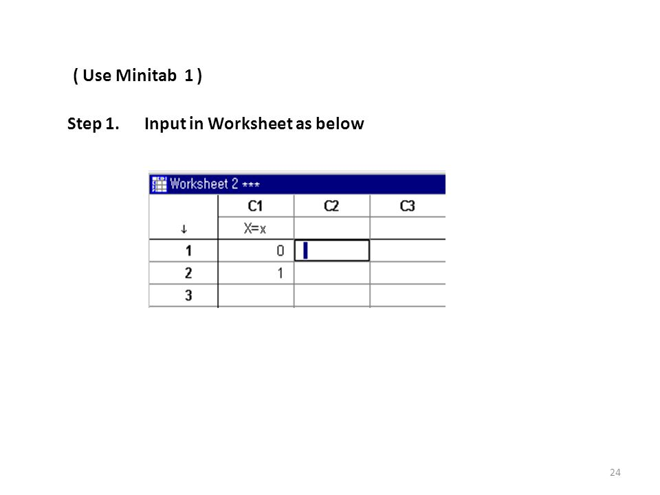( Use Minitab 1 ) Step 1. Input in Worksheet as below 24