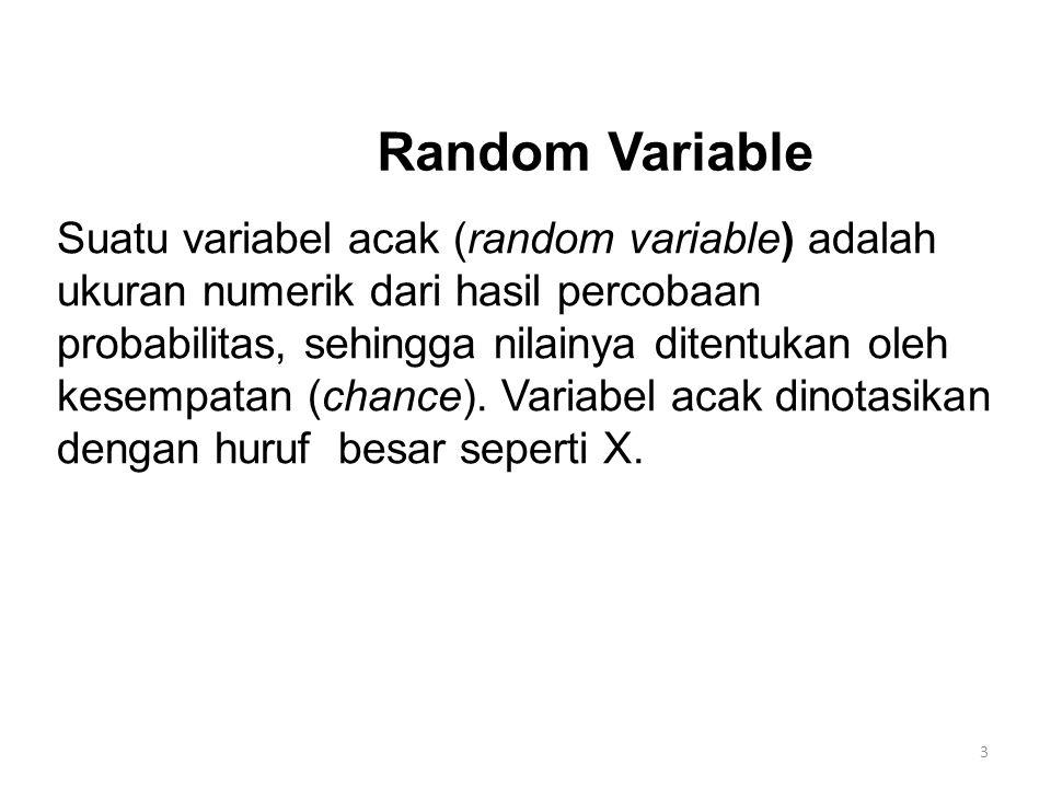 Dua Jenis Variabel Random Variabel acak diskrit yaitu variabel acak yang memiliki nilai-nilai yang mungkin dalam jumlah terbatas atau dapat dihitung.