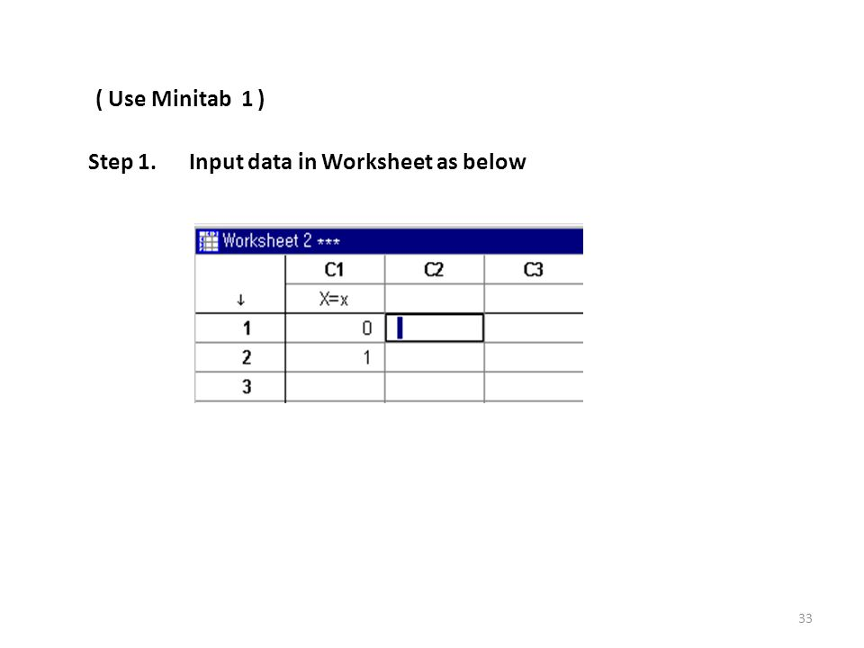 ( Use Minitab 1 ) Step 1. Input data in Worksheet as below 33