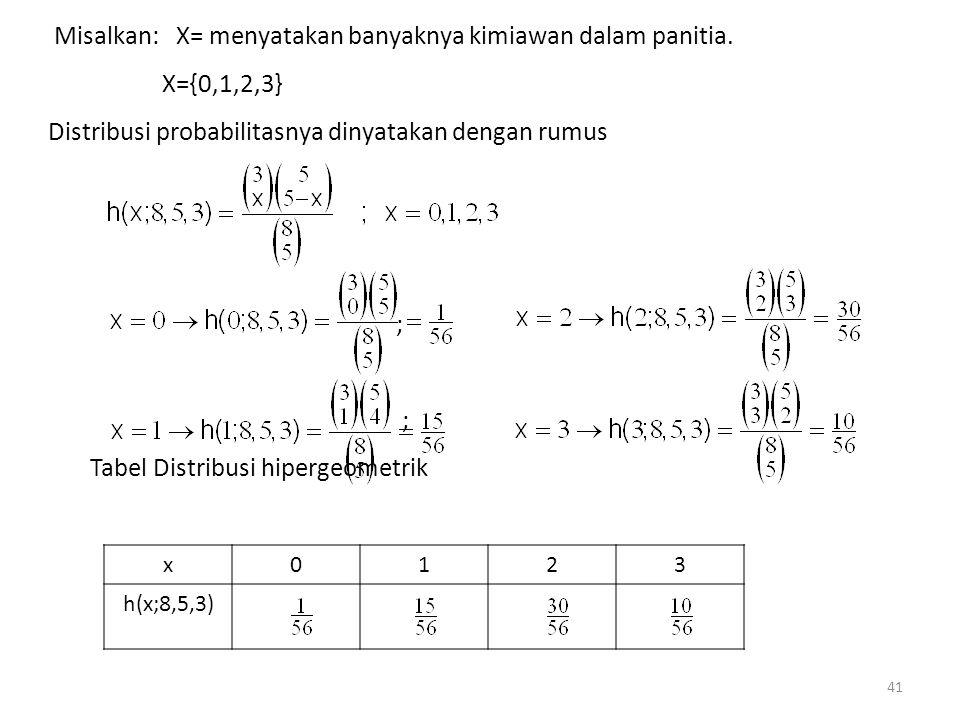 41 Misalkan: X= menyatakan banyaknya kimiawan dalam panitia. X={0,1,2,3} Distribusi probabilitasnya dinyatakan dengan rumus ; Tabel Distribusi hiperge