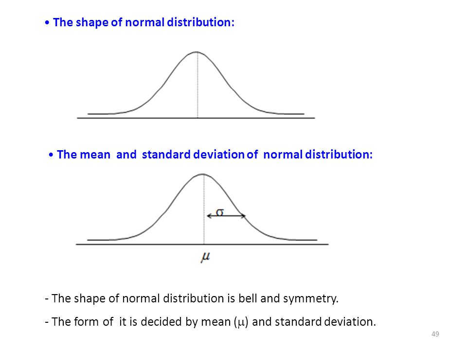 The shape of normal distribution: The mean and standard deviation of normal distribution: - The shape of normal distribution is bell and symmetry. - T