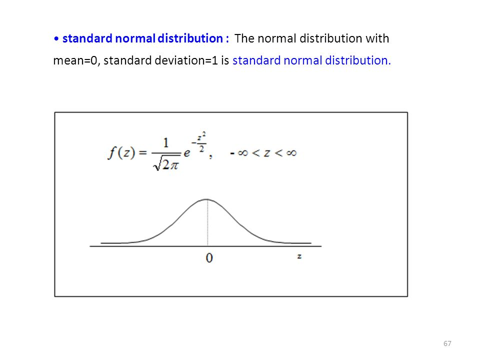 standard normal distribution : The normal distribution with mean=0, standard deviation=1 is standard normal distribution. 67