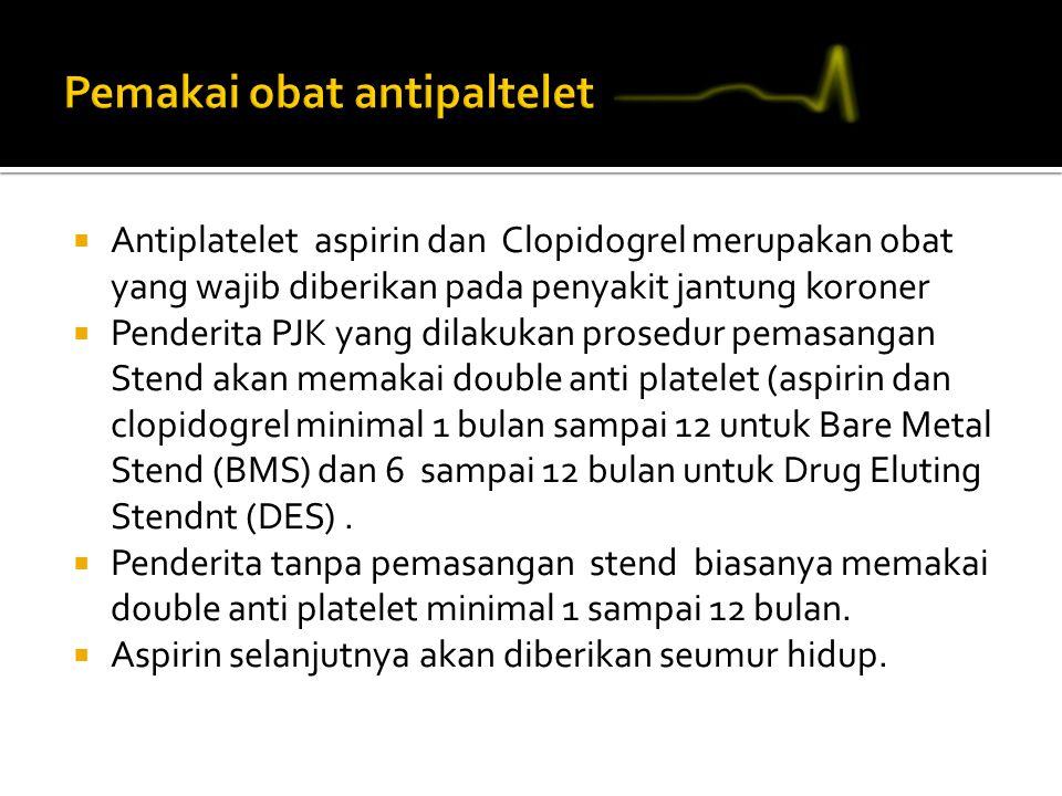  Antiplatelet aspirin dan Clopidogrel merupakan obat yang wajib diberikan pada penyakit jantung koroner  Penderita PJK yang dilakukan prosedur pemasangan Stend akan memakai double anti platelet (aspirin dan clopidogrel minimal 1 bulan sampai 12 untuk Bare Metal Stend (BMS) dan 6 sampai 12 bulan untuk Drug Eluting Stendnt (DES).
