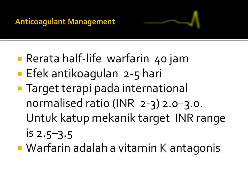  Rerata half-life warfarin 40 jam  Efek antikoagulan 2-5 hari  Target terapi pada international normalised ratio (INR 2-3) 2.0–3.0. Untuk katup mek