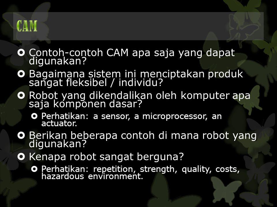  Contoh-contoh CAM apa saja yang dapat digunakan?  Bagaimana sistem ini menciptakan produk sangat fleksibel / individu?  Robot yang dikendalikan ol