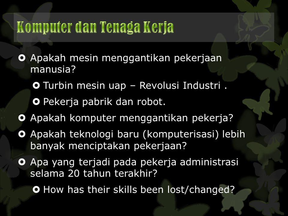  Apakah mesin menggantikan pekerjaan manusia?  Turbin mesin uap – Revolusi Industri.  Pekerja pabrik dan robot.  Apakah komputer menggantikan peke