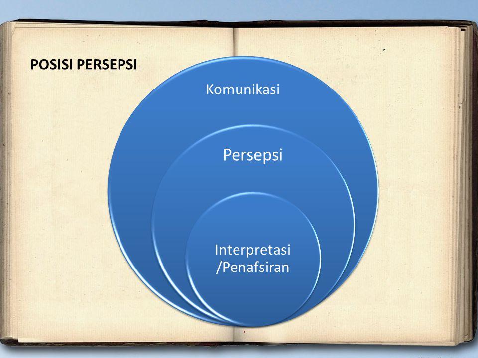 POSISI PERSEPSI Komunikasi Persepsi Interpretasi /Penafsiran