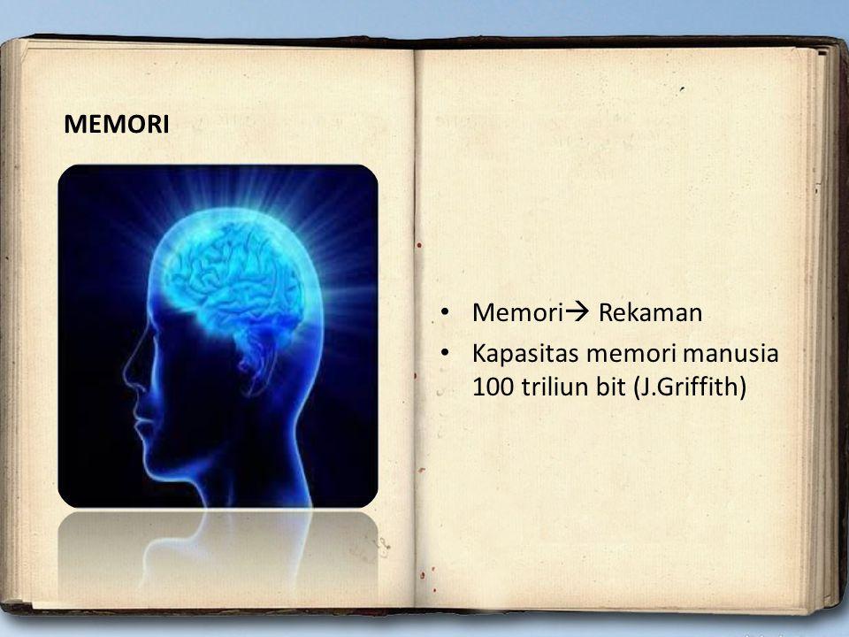 Memori  Rekaman Kapasitas memori manusia 100 triliun bit (J.Griffith) MEMORI