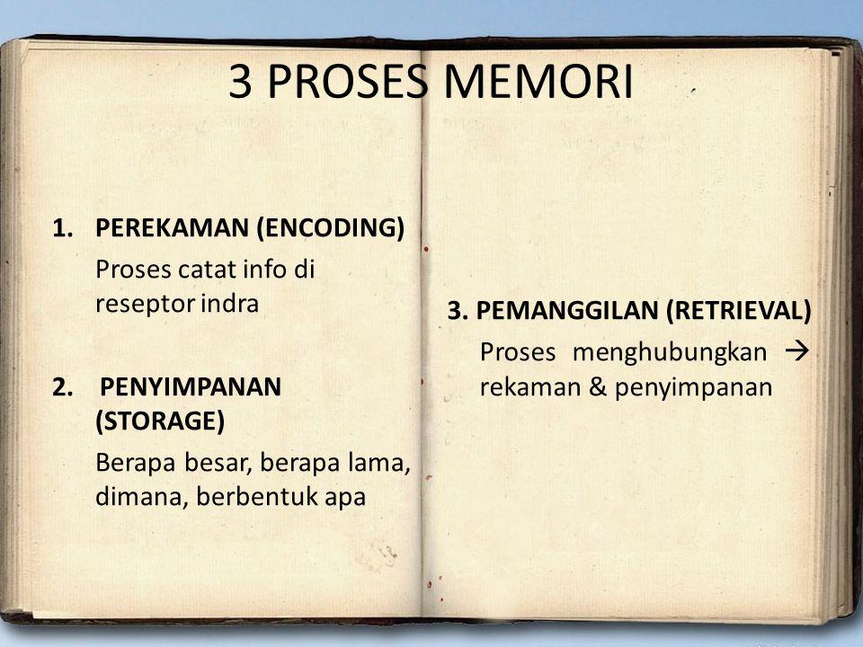 3 PROSES MEMORI 1.PEREKAMAN (ENCODING) Proses catat info di reseptor indra 2. PENYIMPANAN (STORAGE) Berapa besar, berapa lama, dimana, berbentuk apa 3
