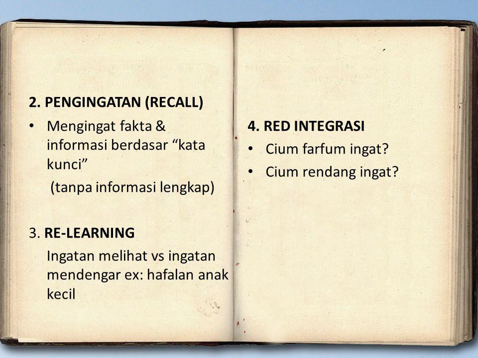 """2. PENGINGATAN (RECALL) Mengingat fakta & informasi berdasar """"kata kunci"""" (tanpa informasi lengkap) 3. RE-LEARNING Ingatan melihat vs ingatan mendenga"""