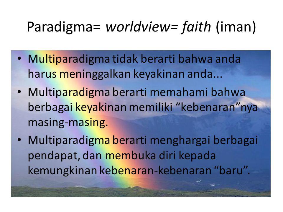 Paradigma= worldview= faith (iman) Multiparadigma tidak berarti bahwa anda harus meninggalkan keyakinan anda... Multiparadigma berarti memahami bahwa