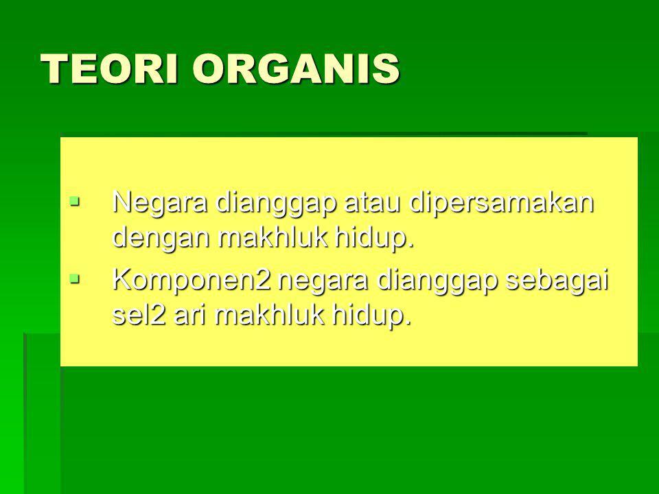 TEORI ORGANIS  Negara dianggap atau dipersamakan dengan makhluk hidup.  Komponen2 negara dianggap sebagai sel2 ari makhluk hidup.
