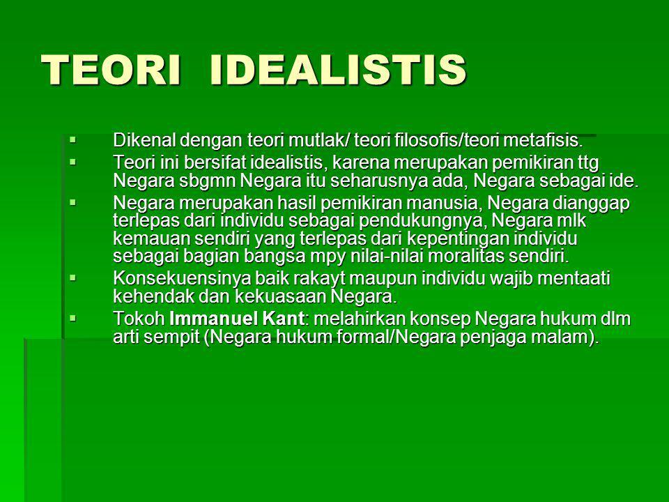 TEORI IDEALISTIS  Dikenal dengan teori mutlak/ teori filosofis/teori metafisis.  Teori ini bersifat idealistis, karena merupakan pemikiran ttg Negar