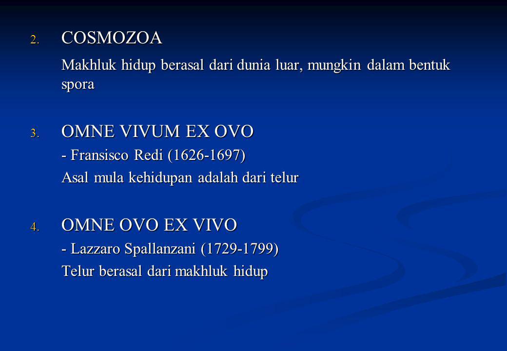 2. COSMOZOA Makhluk hidup berasal dari dunia luar, mungkin dalam bentuk spora 3. OMNE VIVUM EX OVO - Fransisco Redi (1626-1697) Asal mula kehidupan ad