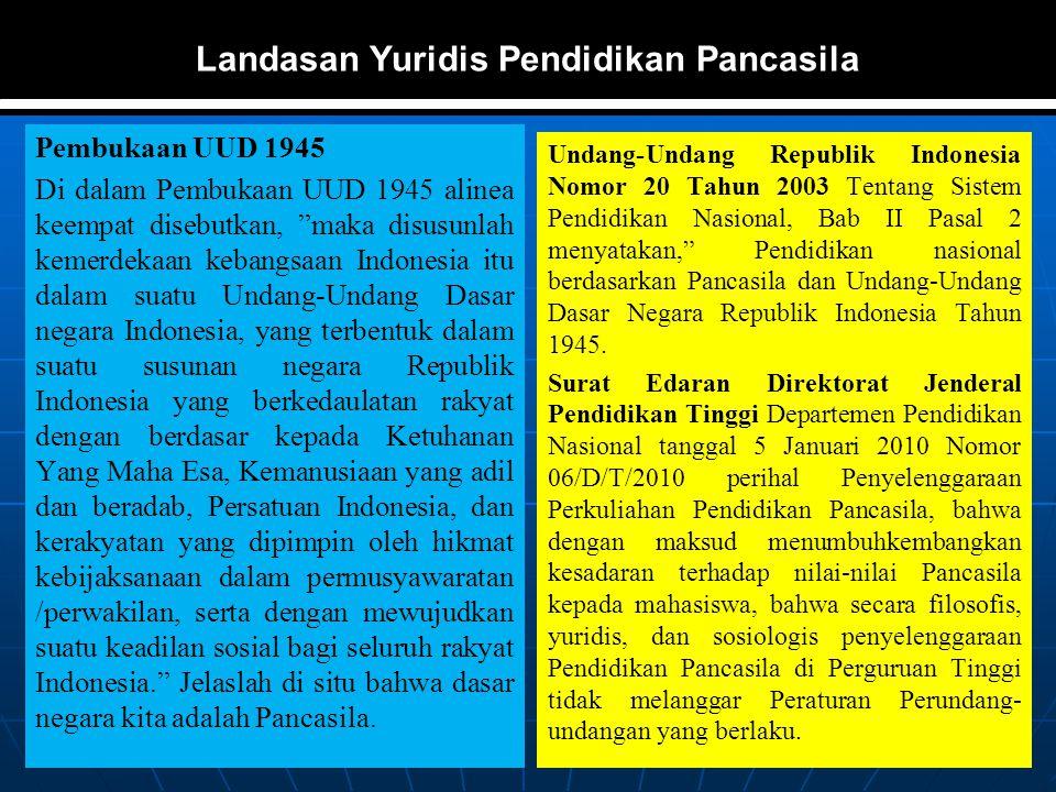 """Landasan Yuridis Pendidikan Pancasila Pembukaan UUD 1945 Di dalam Pembukaan UUD 1945 alinea keempat disebutkan, """"maka disusunlah kemerdekaan kebangsaa"""