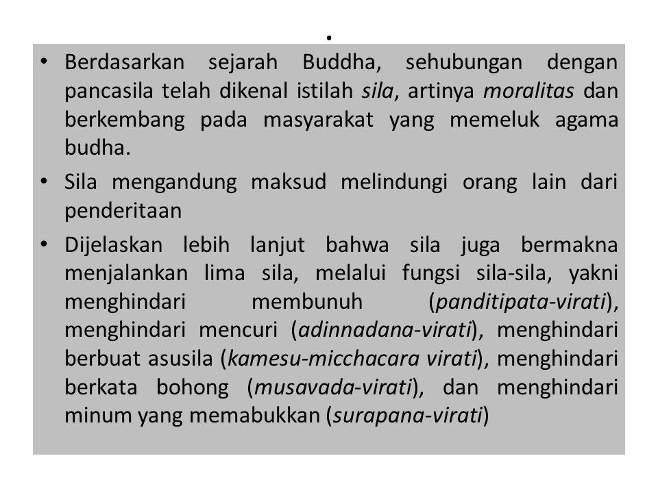 . Berdasarkan sejarah Buddha, sehubungan dengan pancasila telah dikenal istilah sila, artinya moralitas dan berkembang pada masyarakat yang memeluk ag