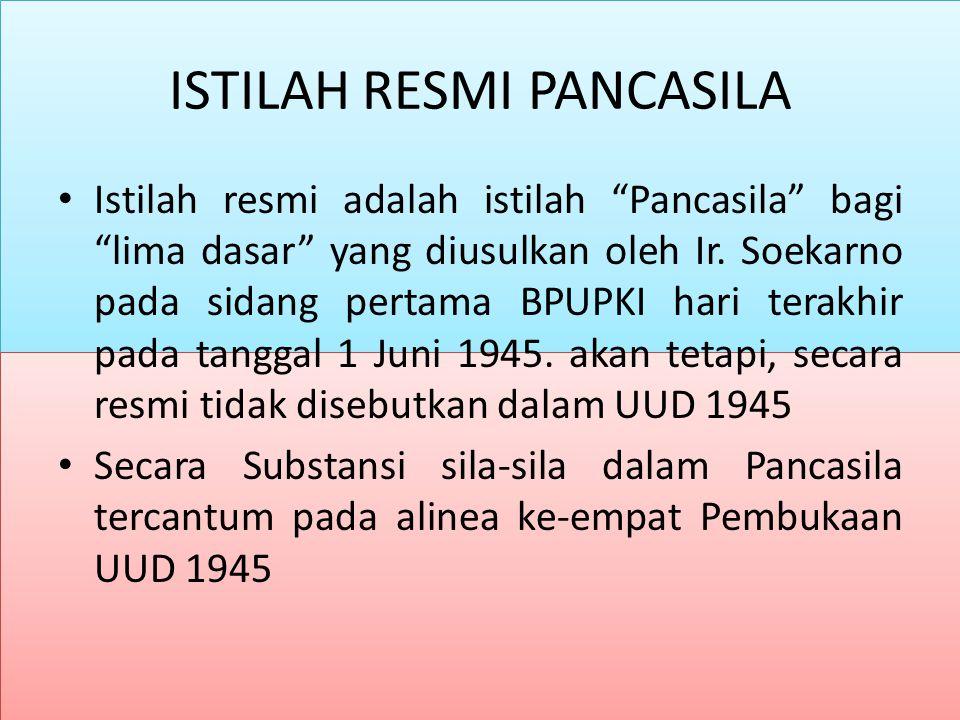 """ISTILAH RESMI PANCASILA Istilah resmi adalah istilah """"Pancasila"""" bagi """"lima dasar"""" yang diusulkan oleh Ir. Soekarno pada sidang pertama BPUPKI hari te"""