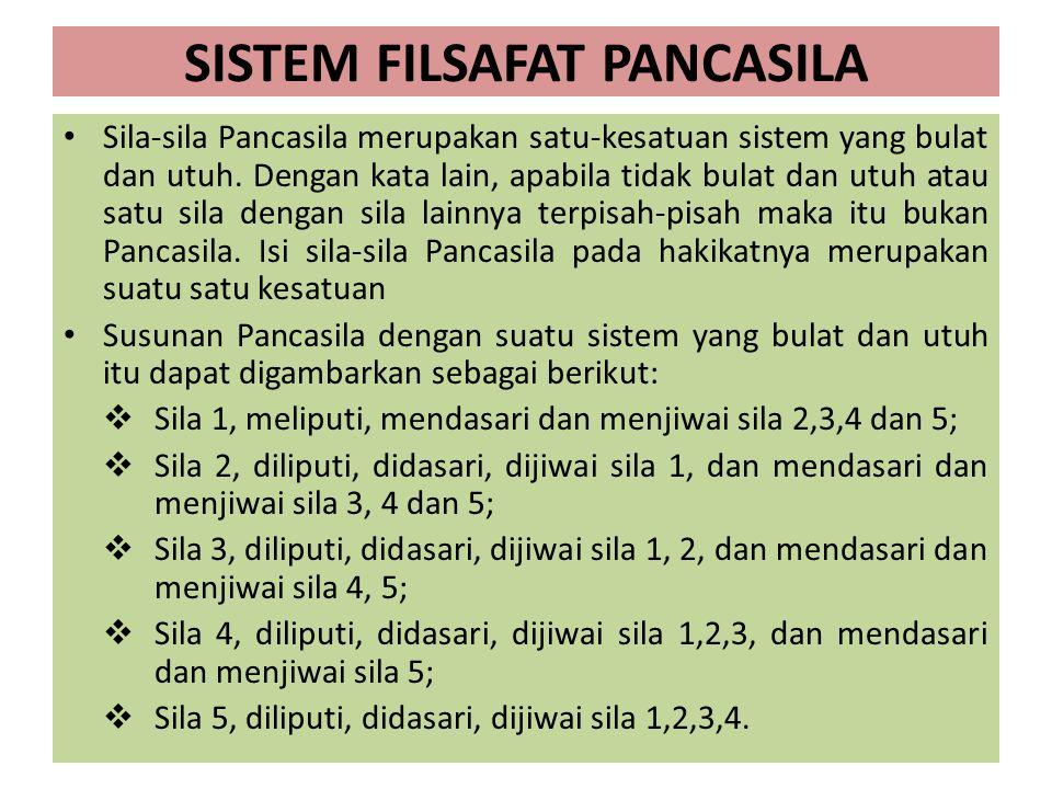 SISTEM FILSAFAT PANCASILA Sila-sila Pancasila merupakan satu-kesatuan sistem yang bulat dan utuh. Dengan kata lain, apabila tidak bulat dan utuh atau