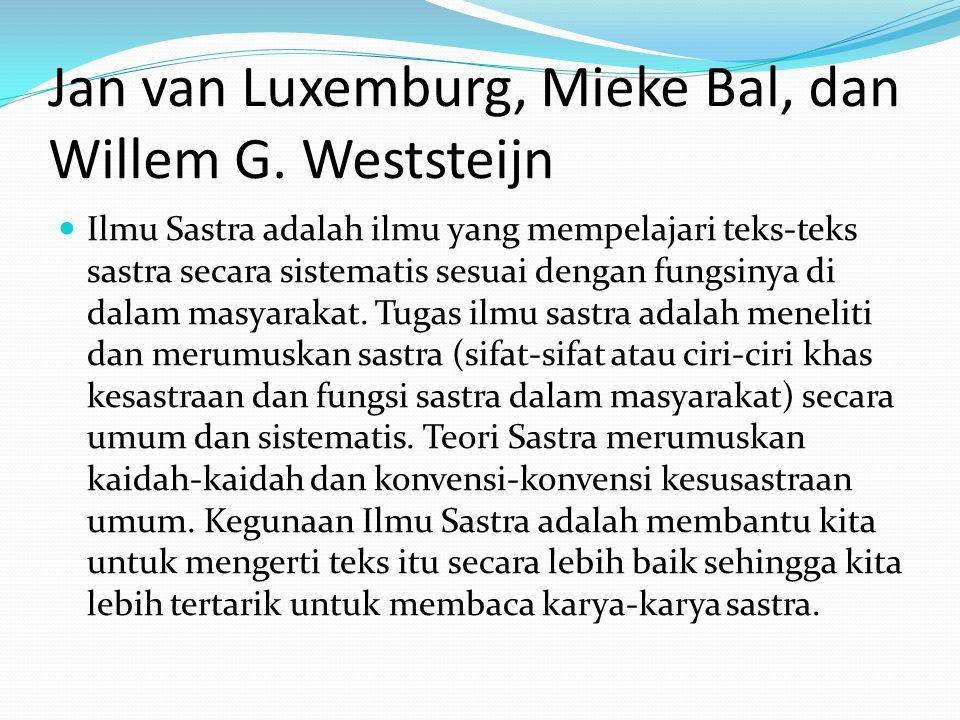 Jan van Luxemburg, Mieke Bal, dan Willem G. Weststeijn Ilmu Sastra adalah ilmu yang mempelajari teks-teks sastra secara sistematis sesuai dengan fungs