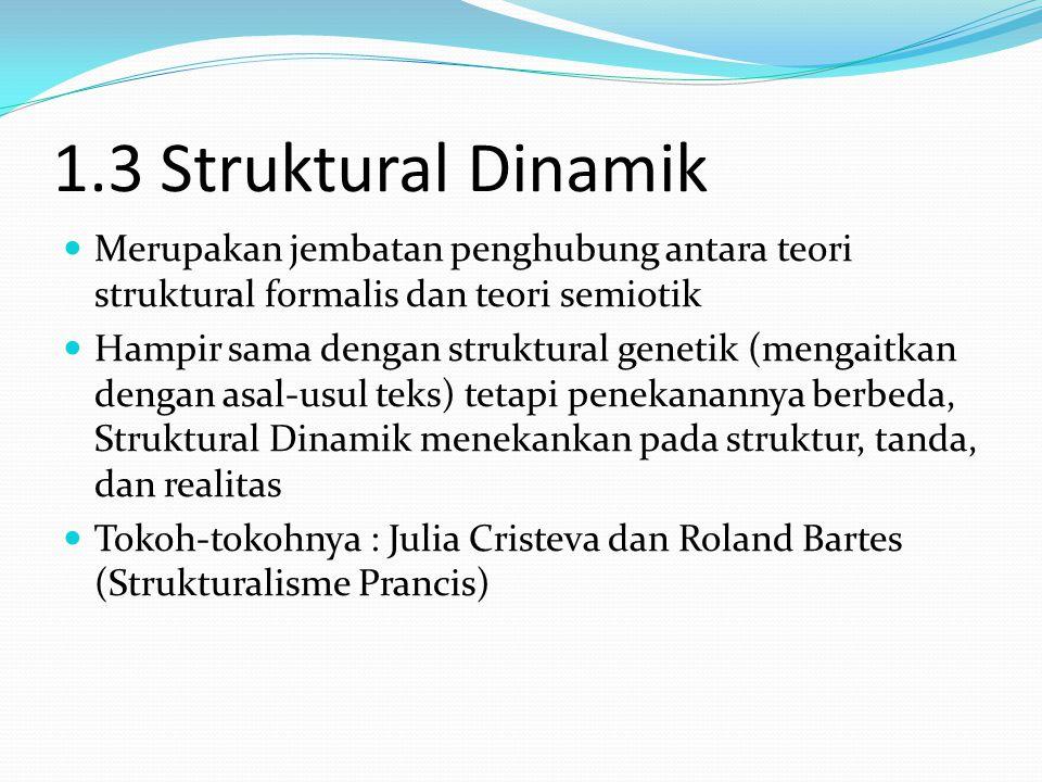 1.3 Struktural Dinamik Merupakan jembatan penghubung antara teori struktural formalis dan teori semiotik Hampir sama dengan struktural genetik (mengaitkan dengan asal-usul teks) tetapi penekanannya berbeda, Struktural Dinamik menekankan pada struktur, tanda, dan realitas Tokoh-tokohnya : Julia Cristeva dan Roland Bartes (Strukturalisme Prancis)