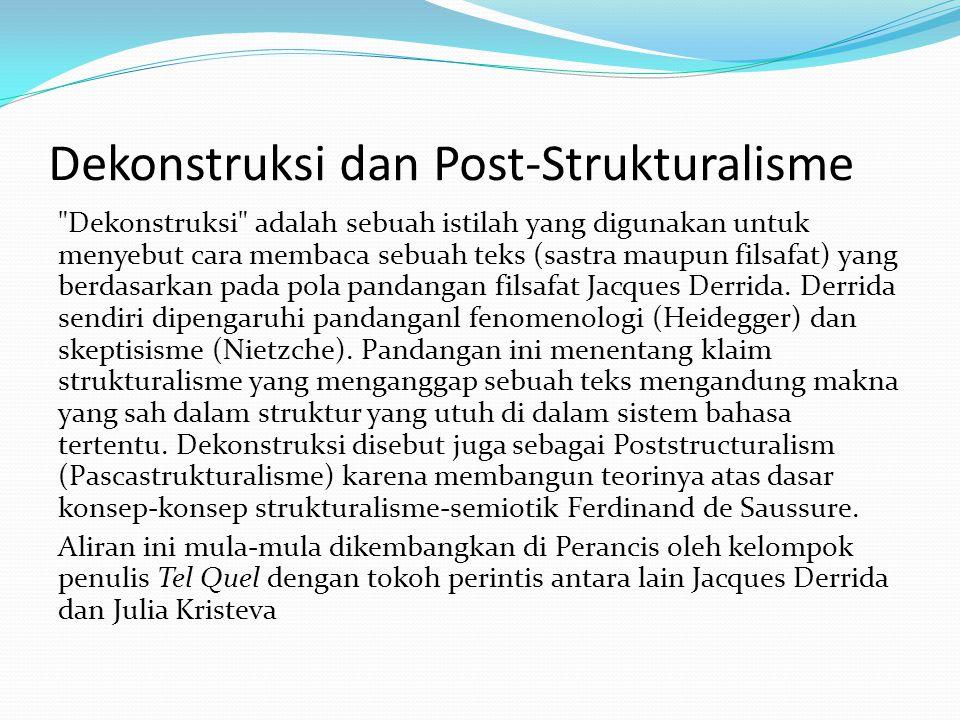 Dekonstruksi dan Post-Strukturalisme Dekonstruksi adalah sebuah istilah yang digunakan untuk menyebut cara membaca sebuah teks (sastra maupun filsafat) yang berdasarkan pada pola pandangan filsafat Jacques Derrida.