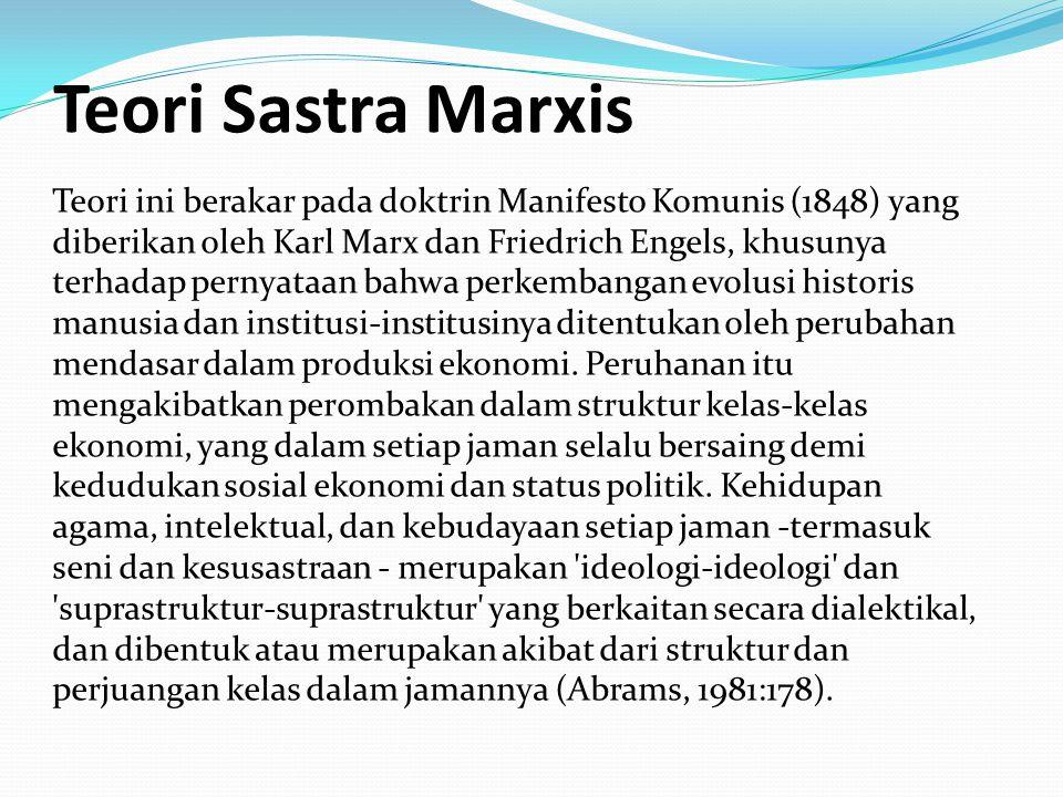 Teori Sastra Marxis Teori ini berakar pada doktrin Manifesto Komunis (1848) yang diberikan oleh Karl Marx dan Friedrich Engels, khusunya terhadap pernyataan bahwa perkembangan evolusi historis manusia dan institusi-institusinya ditentukan oleh perubahan mendasar dalam produksi ekonomi.
