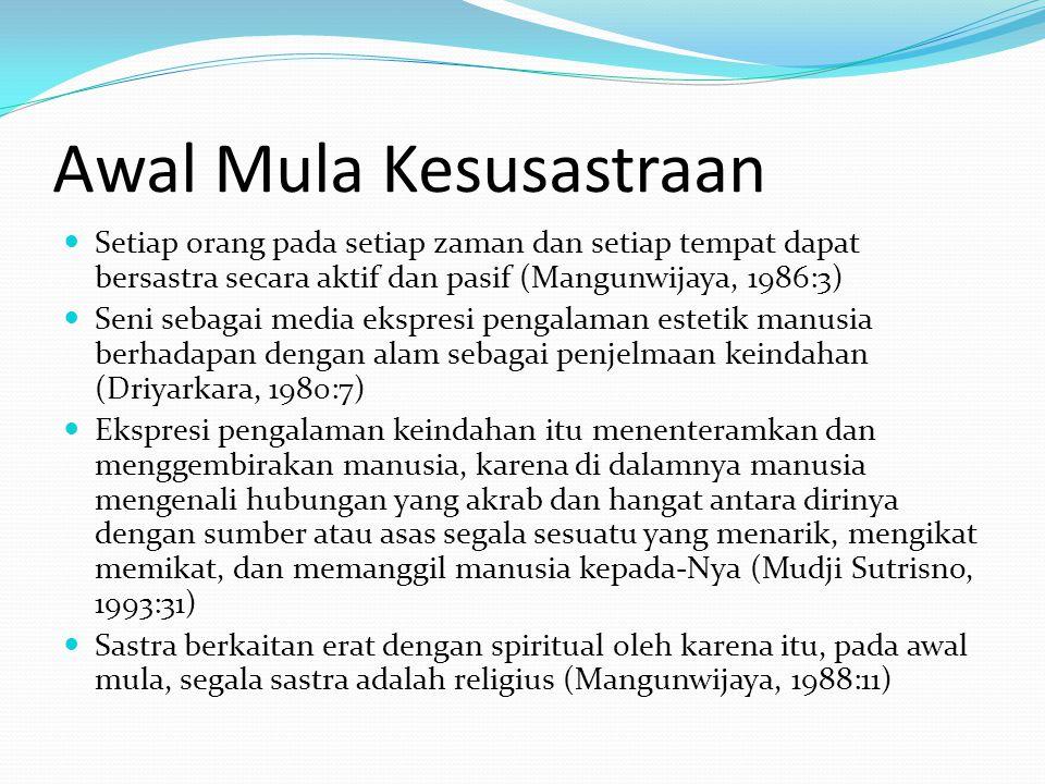 Awal Mula Kesusastraan Setiap orang pada setiap zaman dan setiap tempat dapat bersastra secara aktif dan pasif (Mangunwijaya, 1986:3) Seni sebagai med