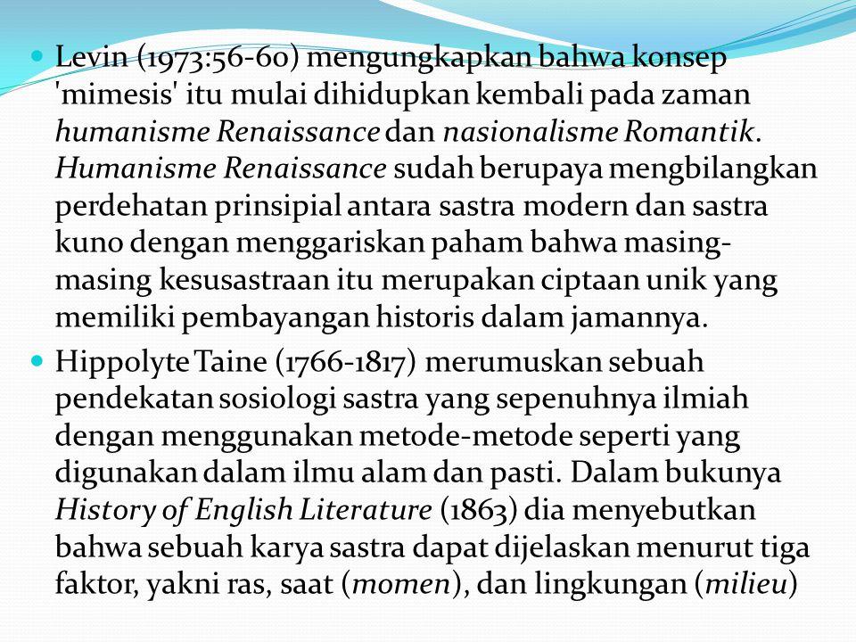 Levin (1973:56-60) mengungkapkan bahwa konsep mimesis itu mulai dihidupkan kembali pada zaman humanisme Renaissance dan nasionalisme Romantik.