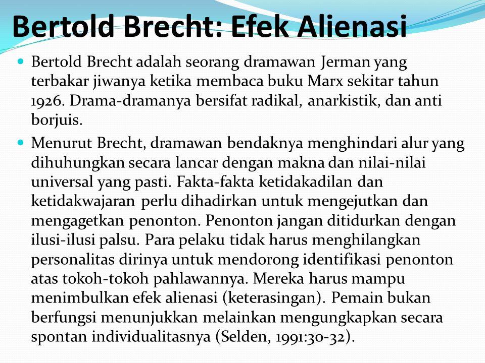 Bertold Brecht: Efek Alienasi Bertold Brecht adalah seorang dramawan Jerman yang terbakar jiwanya ketika membaca buku Marx sekitar tahun 1926. Drama-d