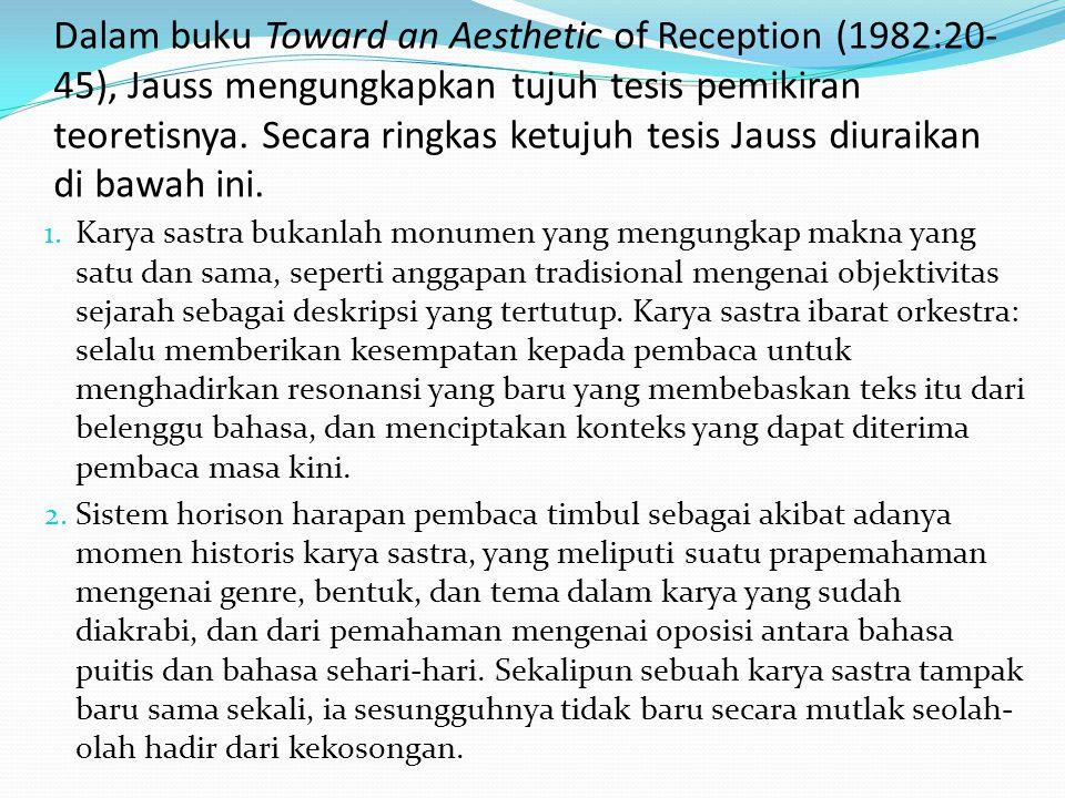 Dalam buku Toward an Aesthetic of Reception (1982:20- 45), Jauss mengungkapkan tujuh tesis pemikiran teoretisnya. Secara ringkas ketujuh tesis Jauss d