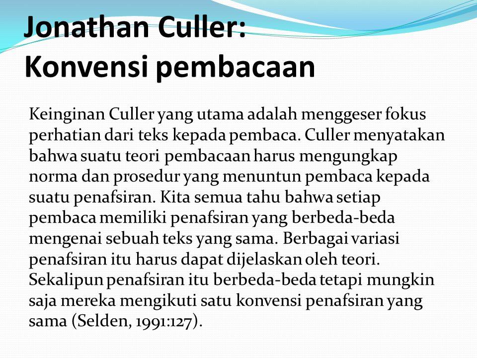 Jonathan Culler: Konvensi pembacaan Keinginan Culler yang utama adalah menggeser fokus perhatian dari teks kepada pembaca. Culler menyatakan bahwa sua