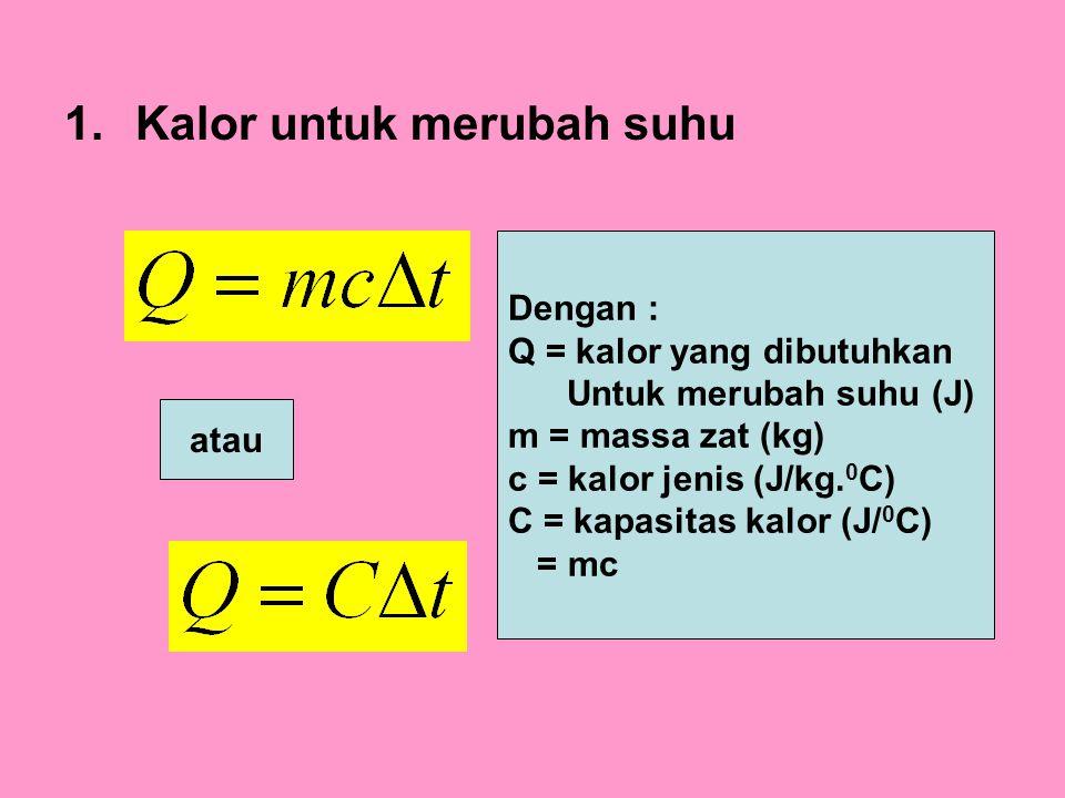 1.Kalor untuk merubah suhu atau Dengan : Q = kalor yang dibutuhkan Untuk merubah suhu (J) m = massa zat (kg) c = kalor jenis (J/kg. 0 C) C = kapasitas
