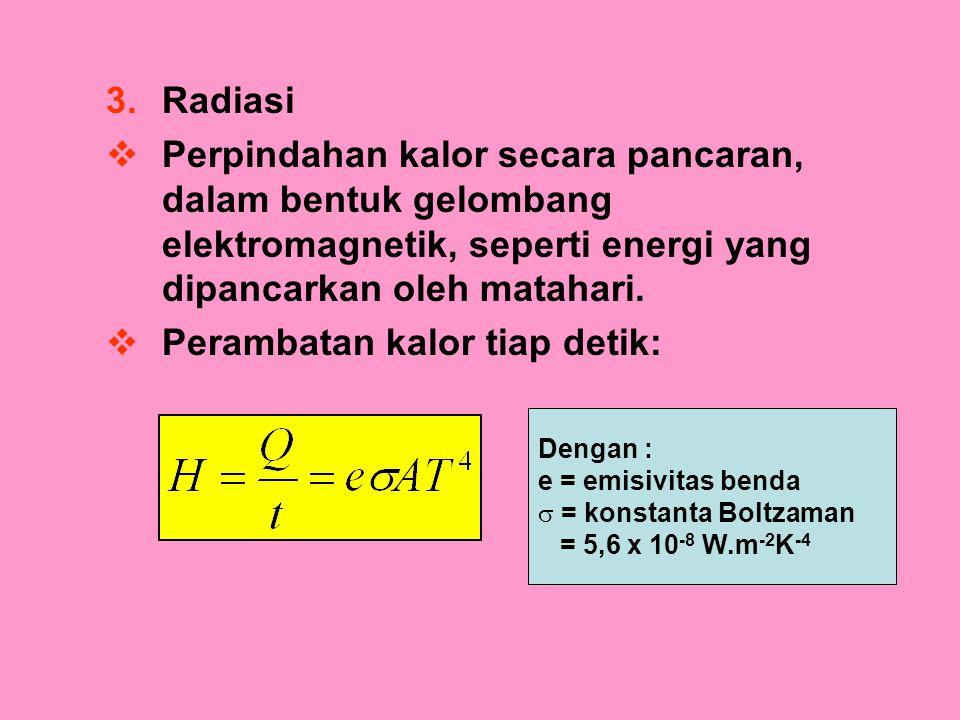 3.Radiasi  Perpindahan kalor secara pancaran, dalam bentuk gelombang elektromagnetik, seperti energi yang dipancarkan oleh matahari.  Perambatan kal