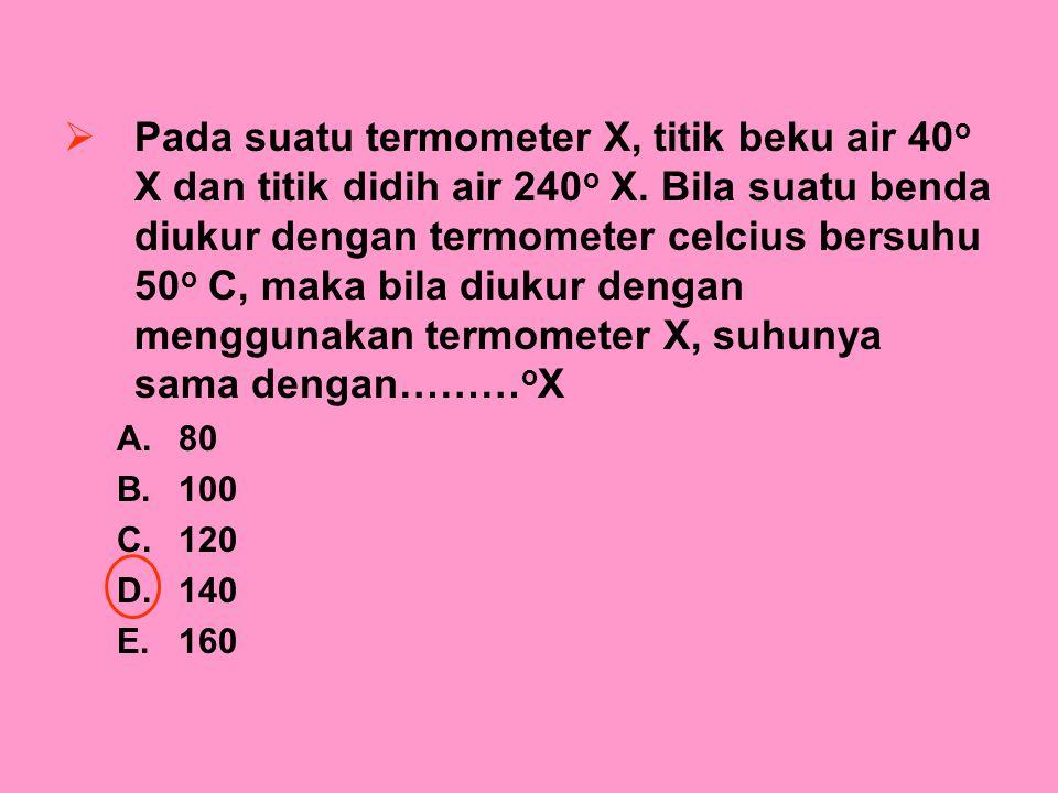 PPada suatu termometer X, titik beku air 40 o X dan titik didih air 240 o X. Bila suatu benda diukur dengan termometer celcius bersuhu 50 o C, maka