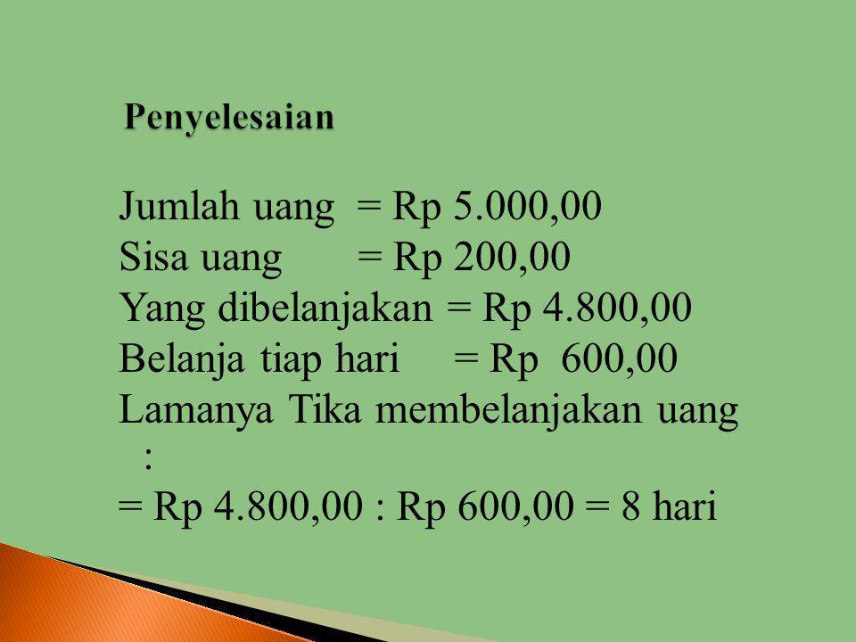 IIbu memberi uang kepada Tika Rp 5.000,- dan Tika membelanja kan uang tersebut Rp 600,- tiap hari. Jika sekarang sisa uangnya Rp 200,- maka Tika tel