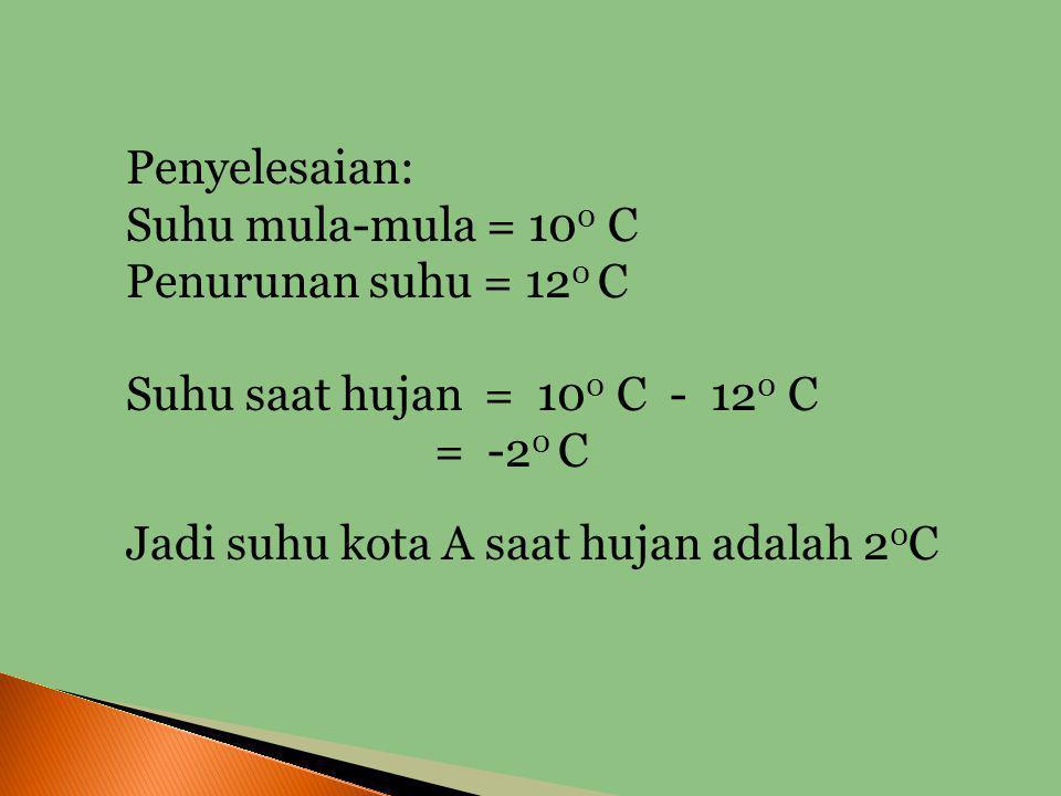 Contoh 1: Suhu mula-mula kota A 10 0 C, karena cuaca hujan suhu di kota A turun 12 0 C, tentukan suhu kota saat hujan?