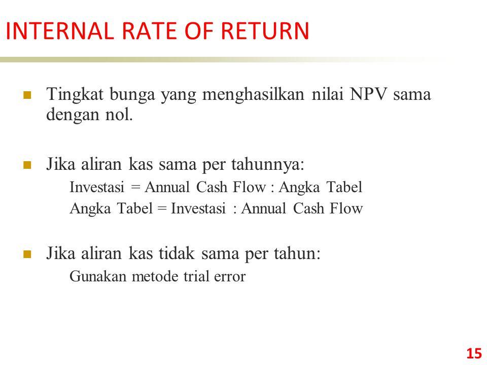 15 Tingkat bunga yang menghasilkan nilai NPV sama dengan nol.