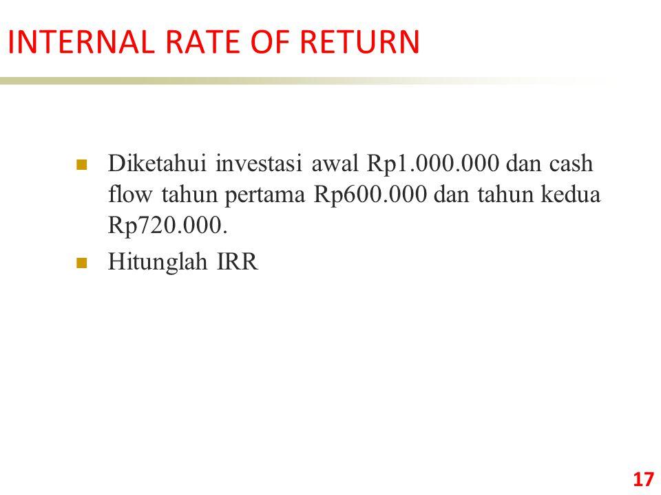 17 Diketahui investasi awal Rp1.000.000 dan cash flow tahun pertama Rp600.000 dan tahun kedua Rp720.000.