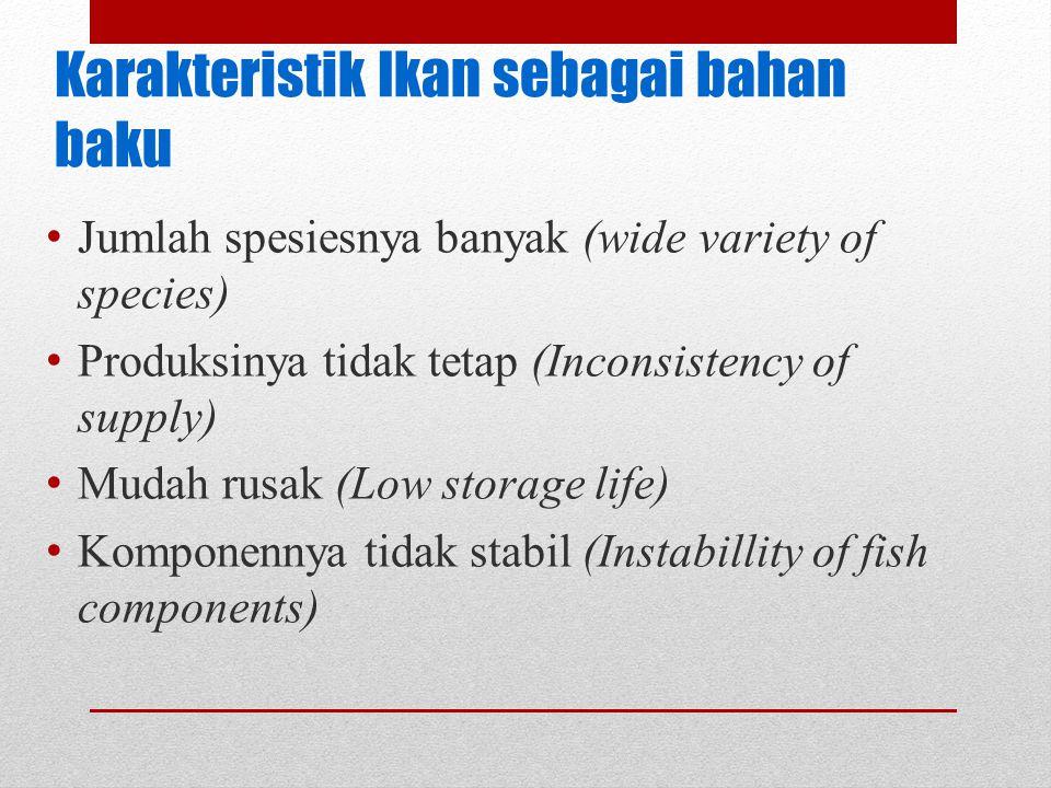Karakteristik Ikan sebagai bahan baku Jumlah spesiesnya banyak (wide variety of species) Produksinya tidak tetap (Inconsistency of supply) Mudah rusak