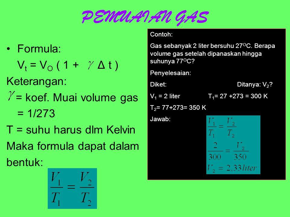 PEMUAIAN ZAT CAIR Formula: V t = V O ( 1 + Δ t ) Keterangan: = koef.