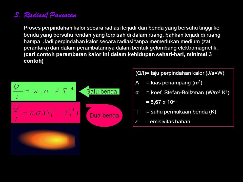 2.Konveksi Perpindahan kalor secara konveksi terjadi pada zat cair dan gas.