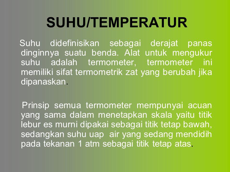 SUHU/TEMPERATUR Suhu didefinisikan sebagai derajat panas dinginnya suatu benda.