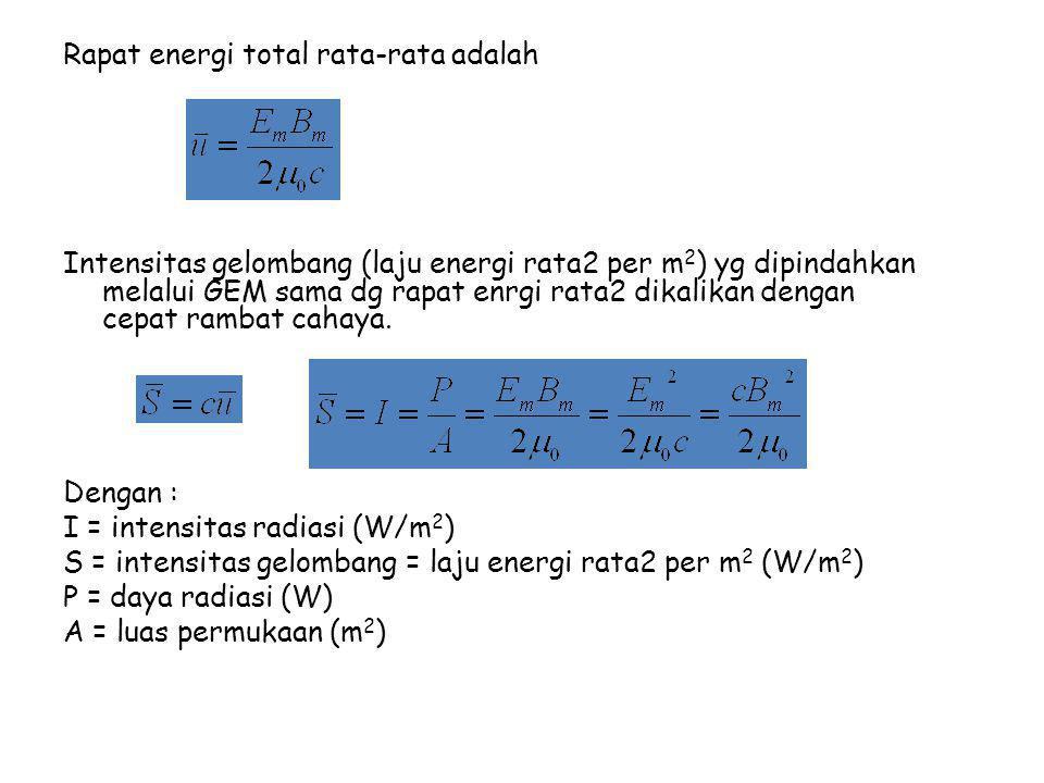 Rapat energi total rata-rata adalah Intensitas gelombang (laju energi rata2 per m 2 ) yg dipindahkan melalui GEM sama dg rapat enrgi rata2 dikalikan dengan cepat rambat cahaya.