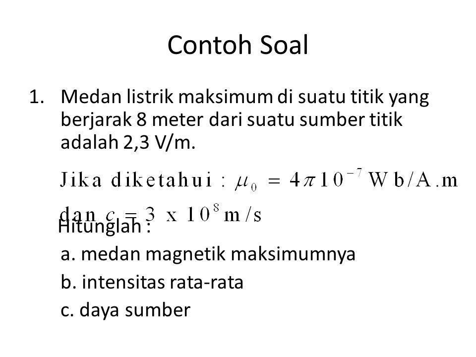 Contoh Soal 1.Medan listrik maksimum di suatu titik yang berjarak 8 meter dari suatu sumber titik adalah 2,3 V/m.