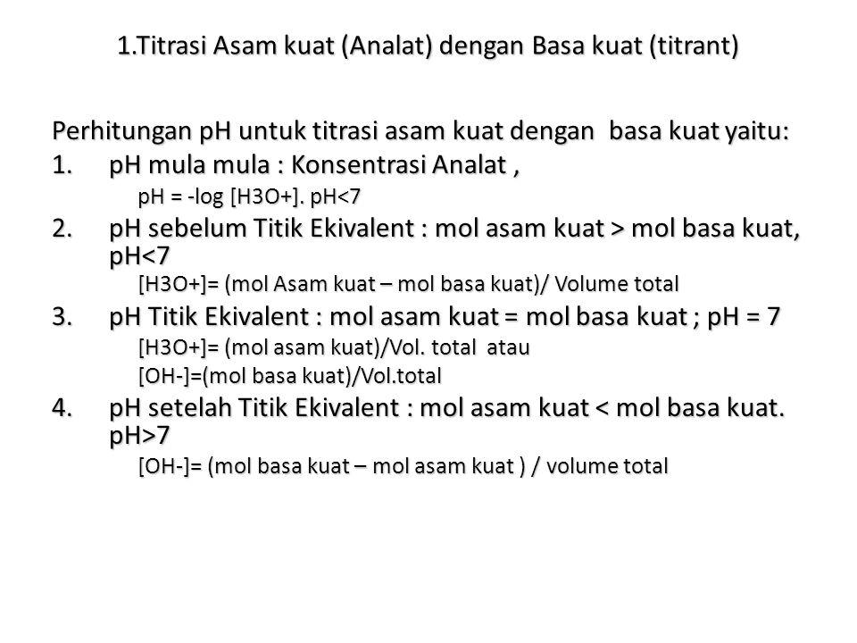 1.Titrasi Asam kuat (Analat) dengan Basa kuat (titrant) Perhitungan pH untuk titrasi asam kuat dengan basa kuat yaitu: 1.pH mula mula : Konsentrasi An