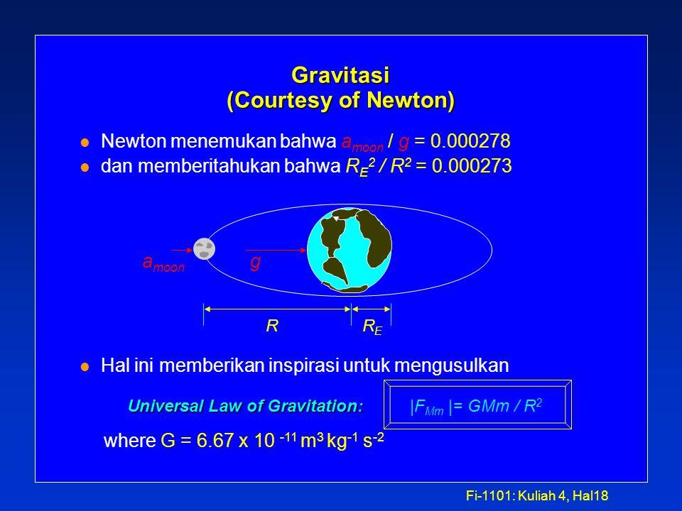 Fi-1101: Kuliah 4, Hal17 Action at a distance l Gravitasi: