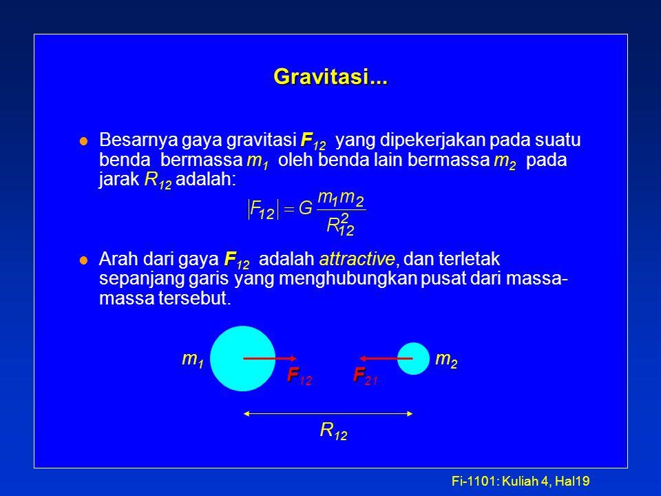 Fi-1101: Kuliah 4, Hal18 Gravitasi (Courtesy of Newton) l Newton menemukan bahwa a moon / g = 0.000278 l dan memberitahukan bahwa R E 2 / R 2 = 0.000273 l Hal ini memberikan inspirasi untuk mengusulkan Universal Law of Gravitation: Universal Law of Gravitation: |F Mm |= GMm / R 2 RRERE a moon g where G = 6.67 x 10 -11 m 3 kg -1 s -2