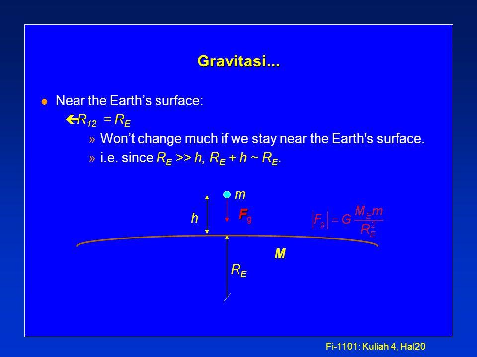 Fi-1101: Kuliah 4, Hal19 Gravitasi... F l Besarnya gaya gravitasi F 12 yang dipekerjakan pada suatu benda bermassa m 1 oleh benda lain bermassa m 2 pa